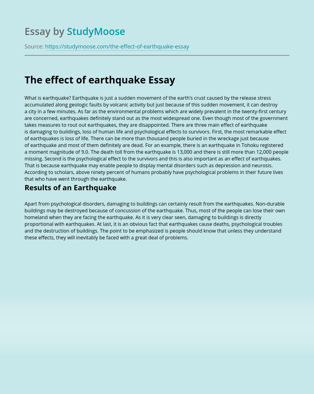 The effect of earthquake