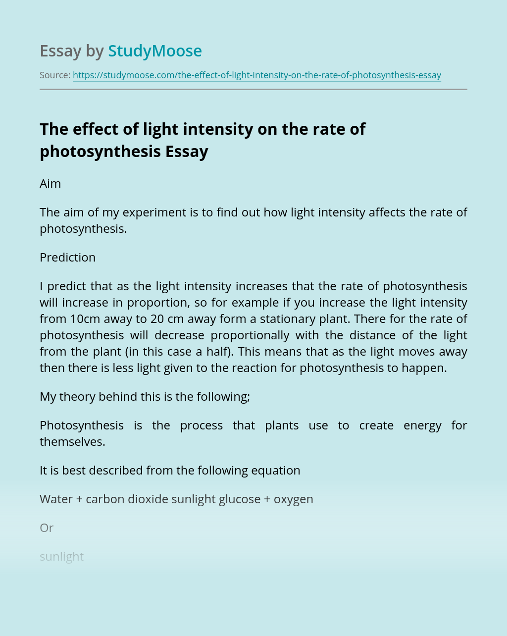 The effect of light intensity on the rate of photosynthesis