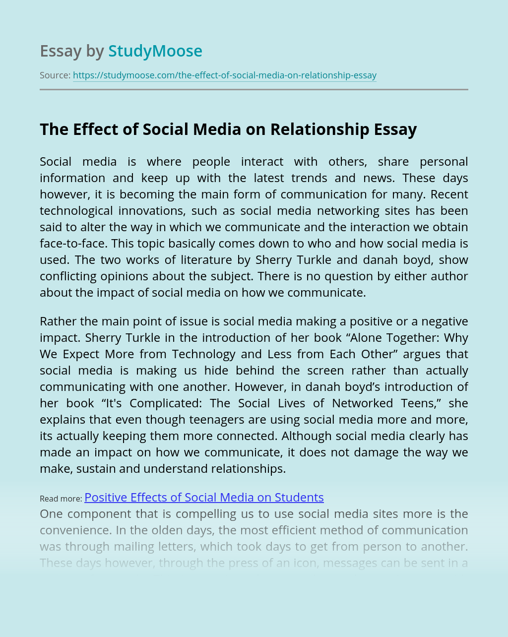 The Effect of Social Media on Relationship