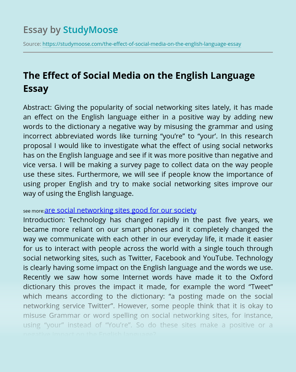 The Effect of Social Media on the English Language