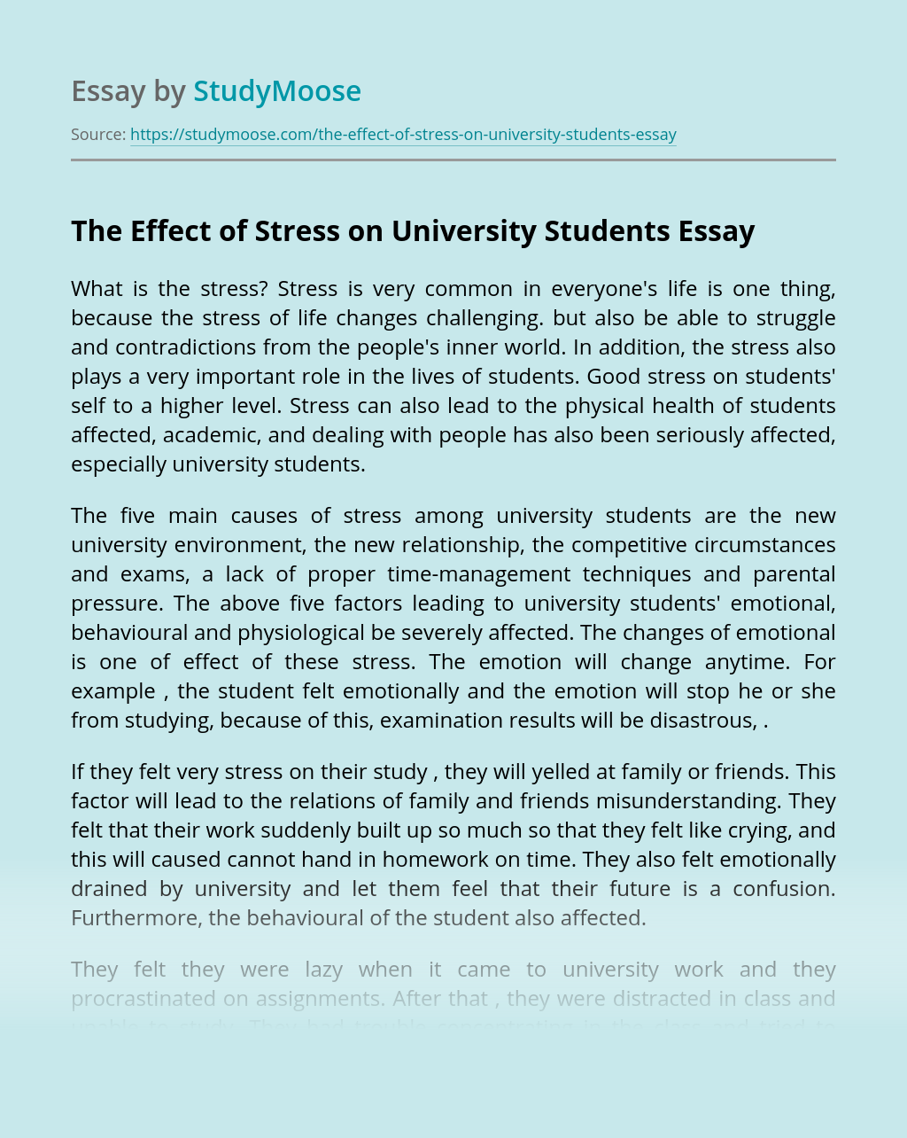 The Effect of Stress on University Students
