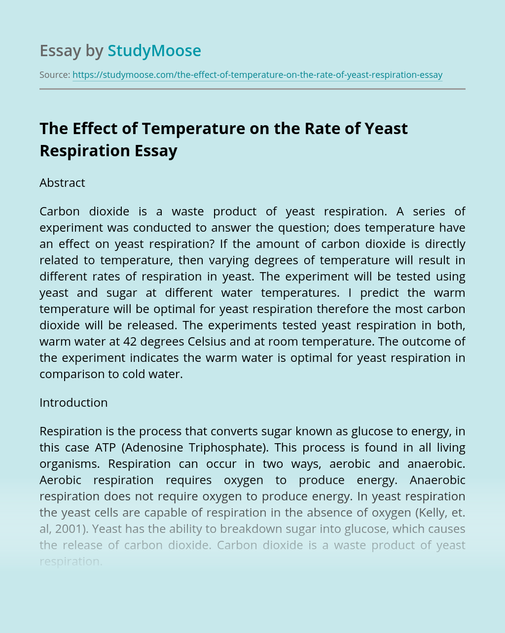 The Effect of Temperature on the Rate of Yeast Respiration