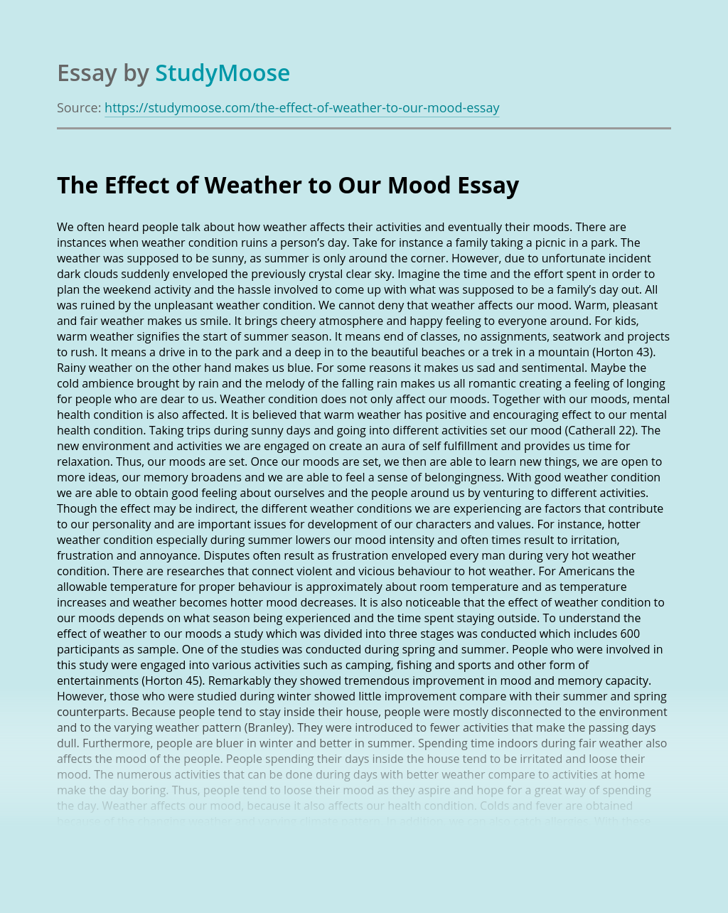 The Effect of Weather to Our Mood