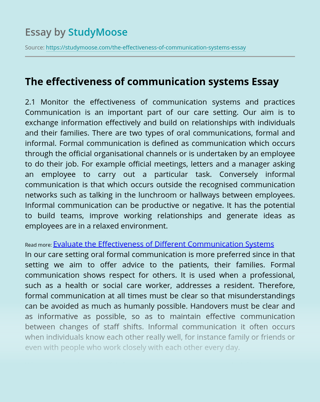 The effectiveness of communication systems