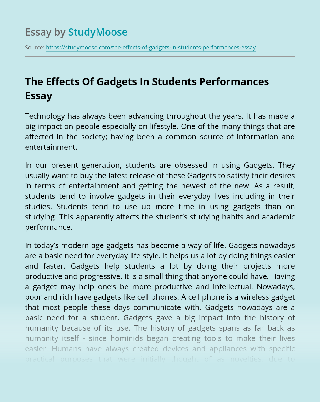 The Effects Of Gadgets In Students Performances