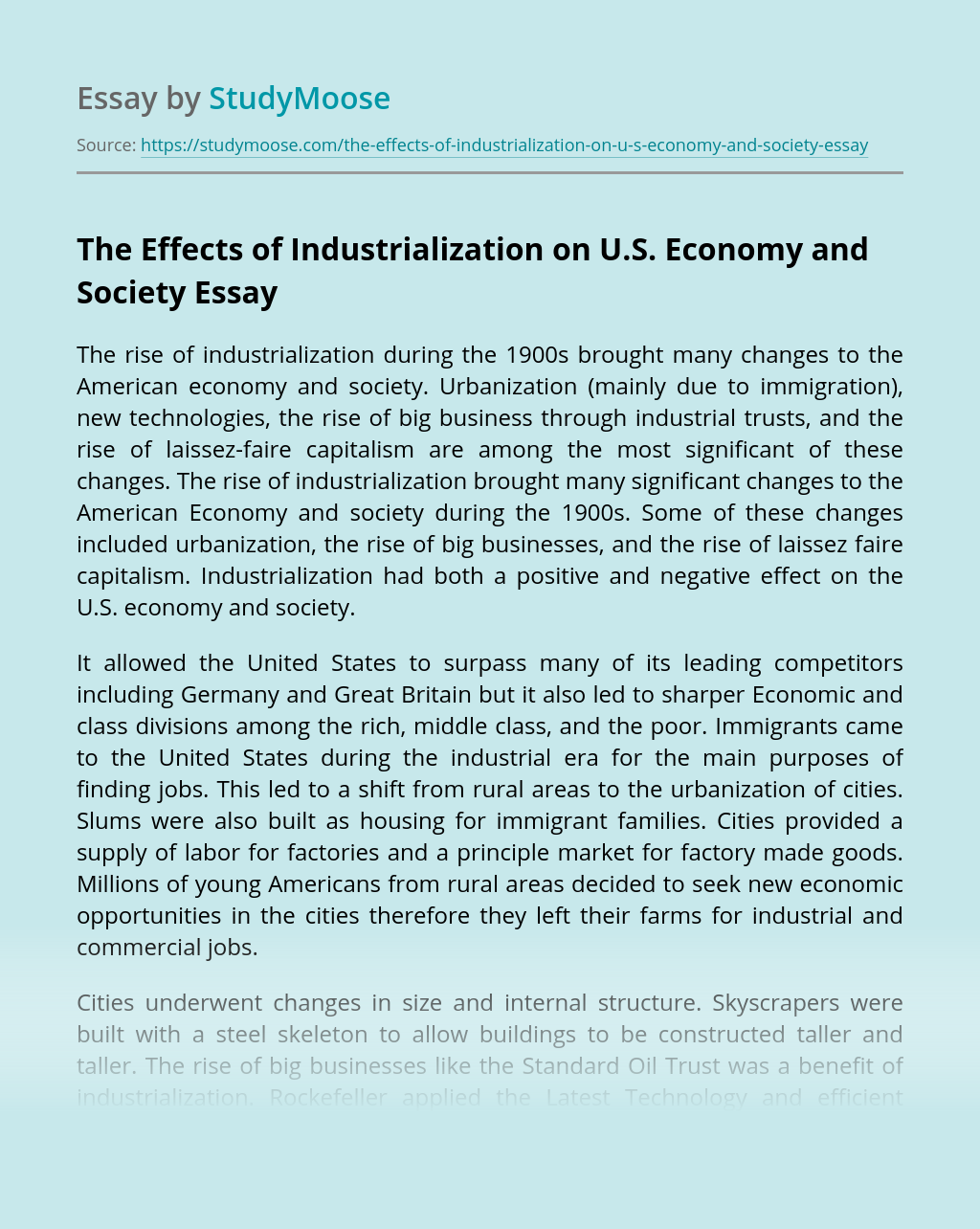 The Effects of Industrialization on U.S. Economy and Society
