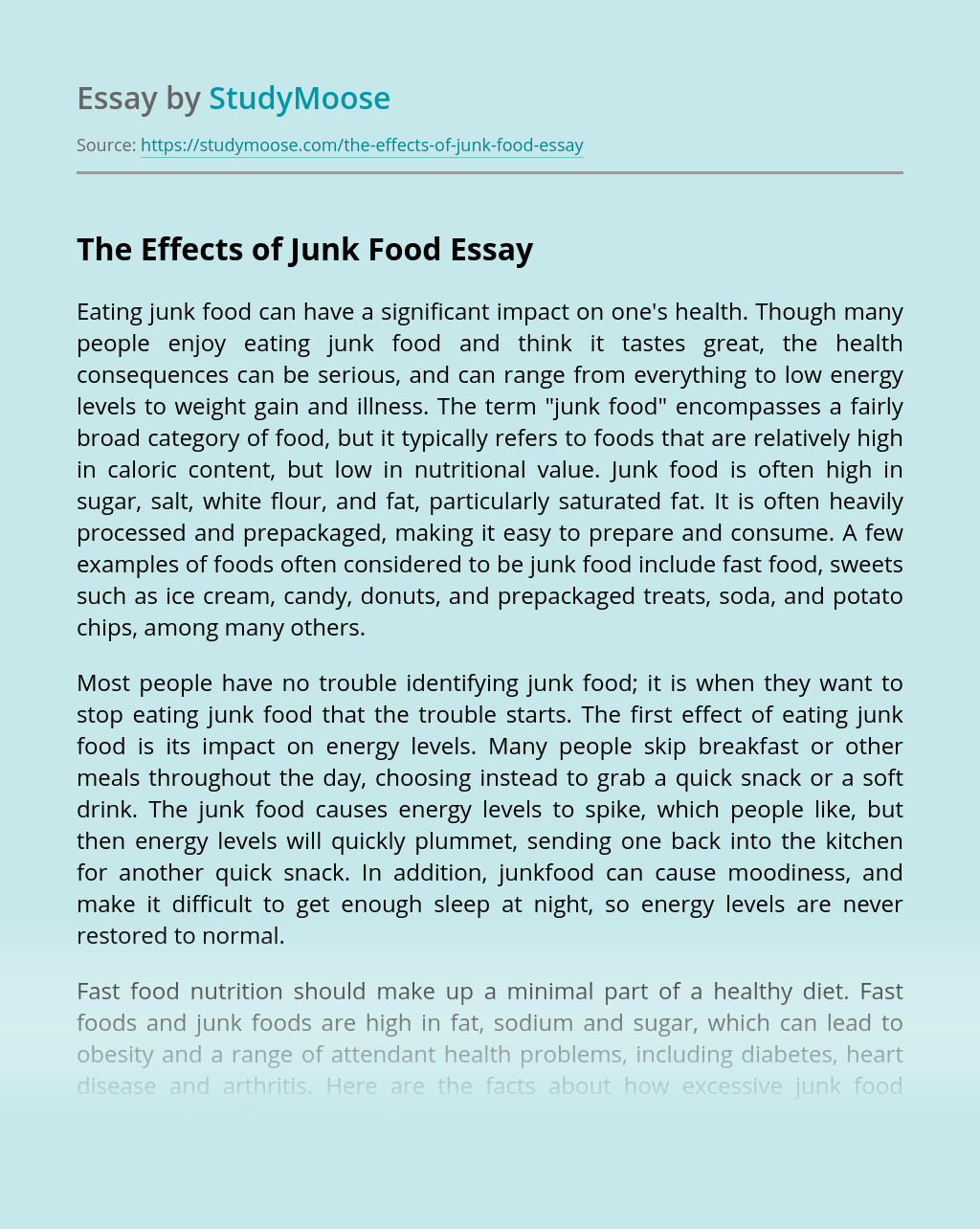 The Effects of Junk Food