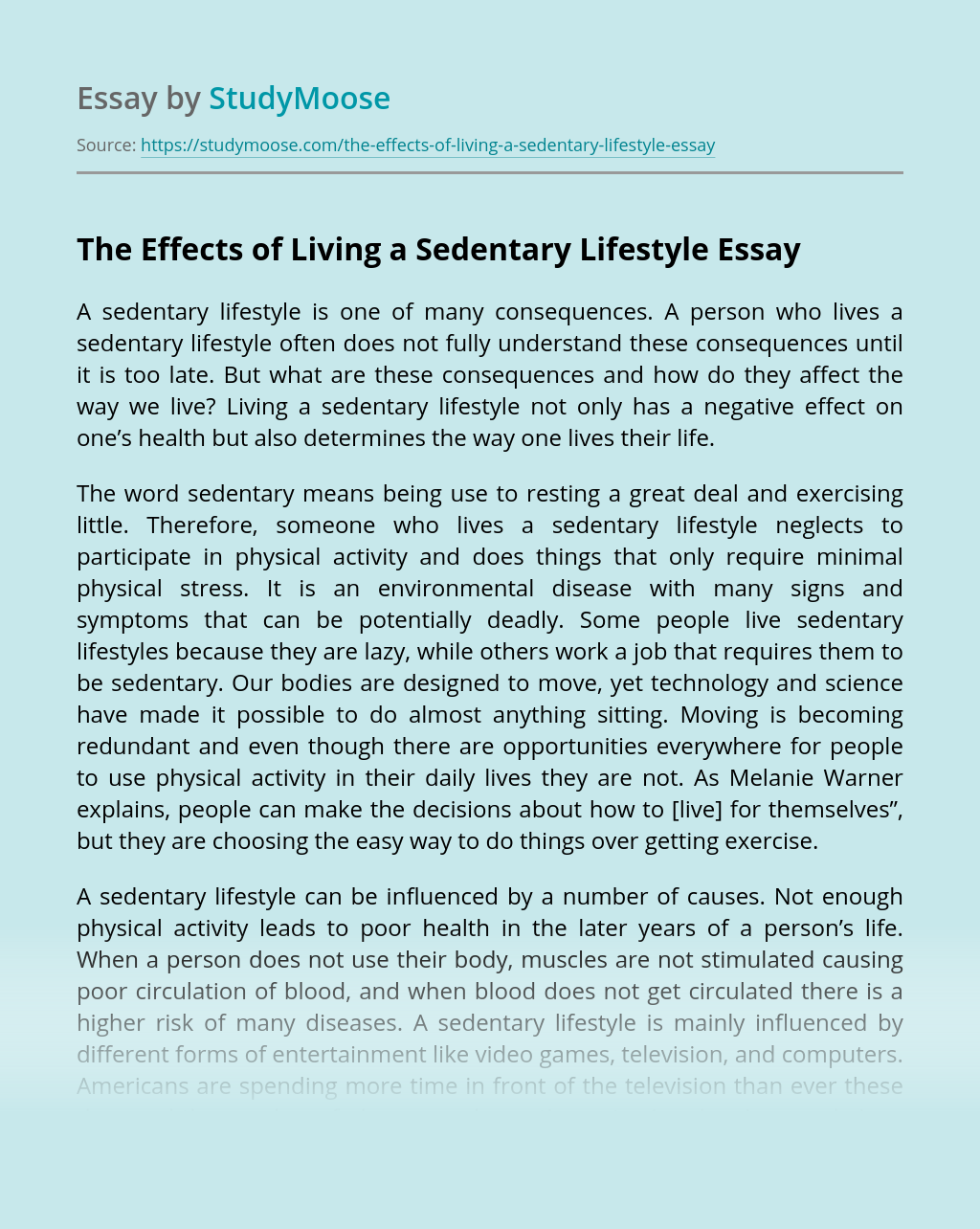 The Effects of Living a Sedentary Lifestyle