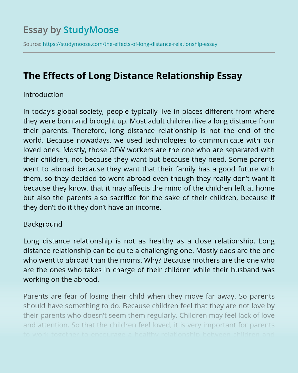 The Effects of Long Distance Relationship Free Essay Example