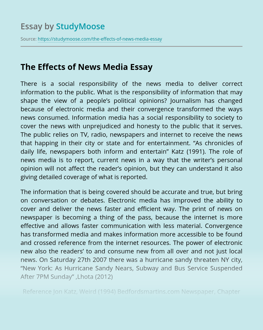 The Effects of News Media