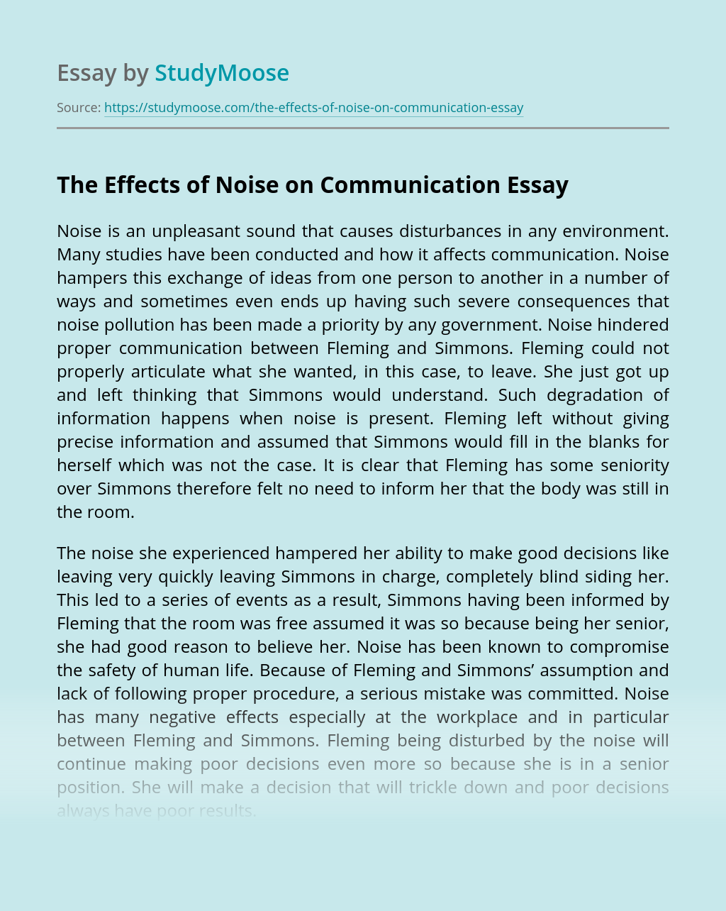 The Effects of Noise on Communication