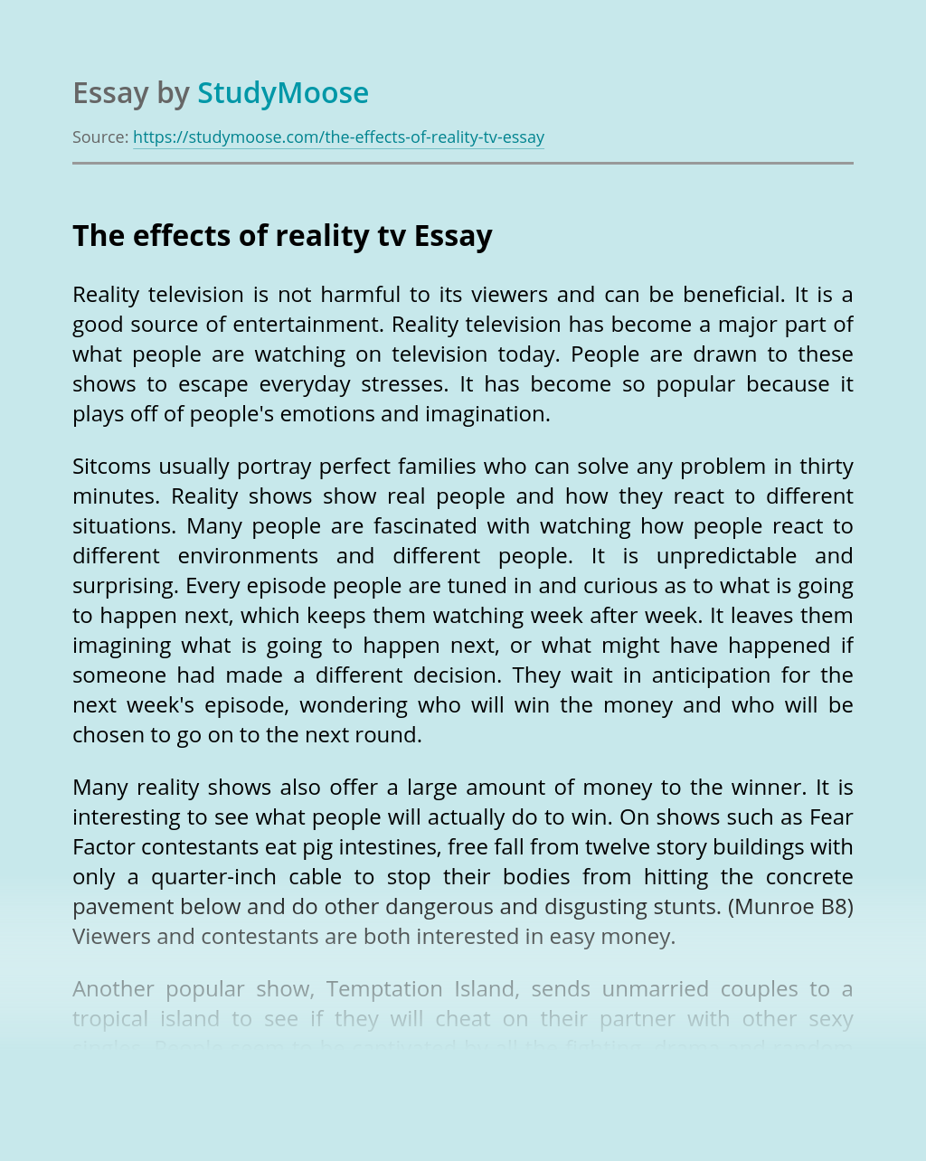 essay on reality shows