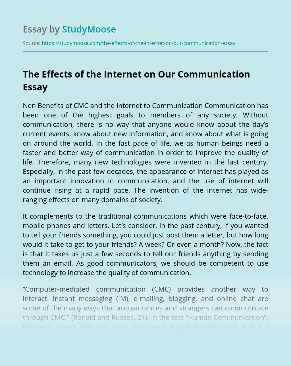 The Effects of the Internet on Our Communication