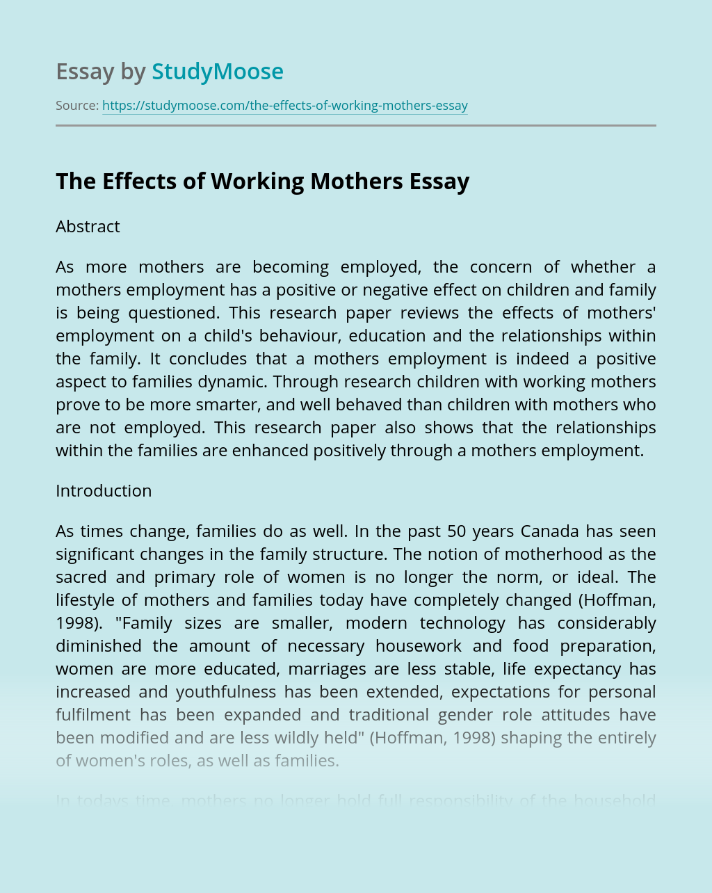 The Effects of Working Mothers