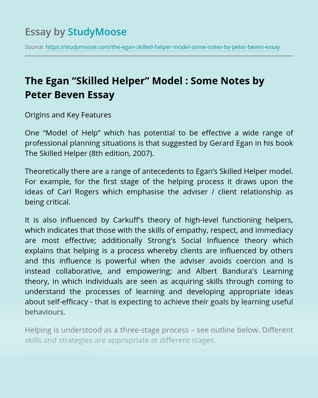 "The Egan ""Skilled Helper"" Model : Some Notes by Peter Beven"