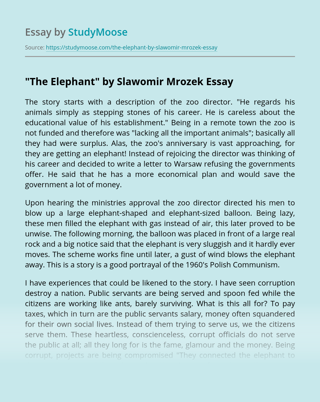 """The Elephant"" by Slawomir Mrozek"