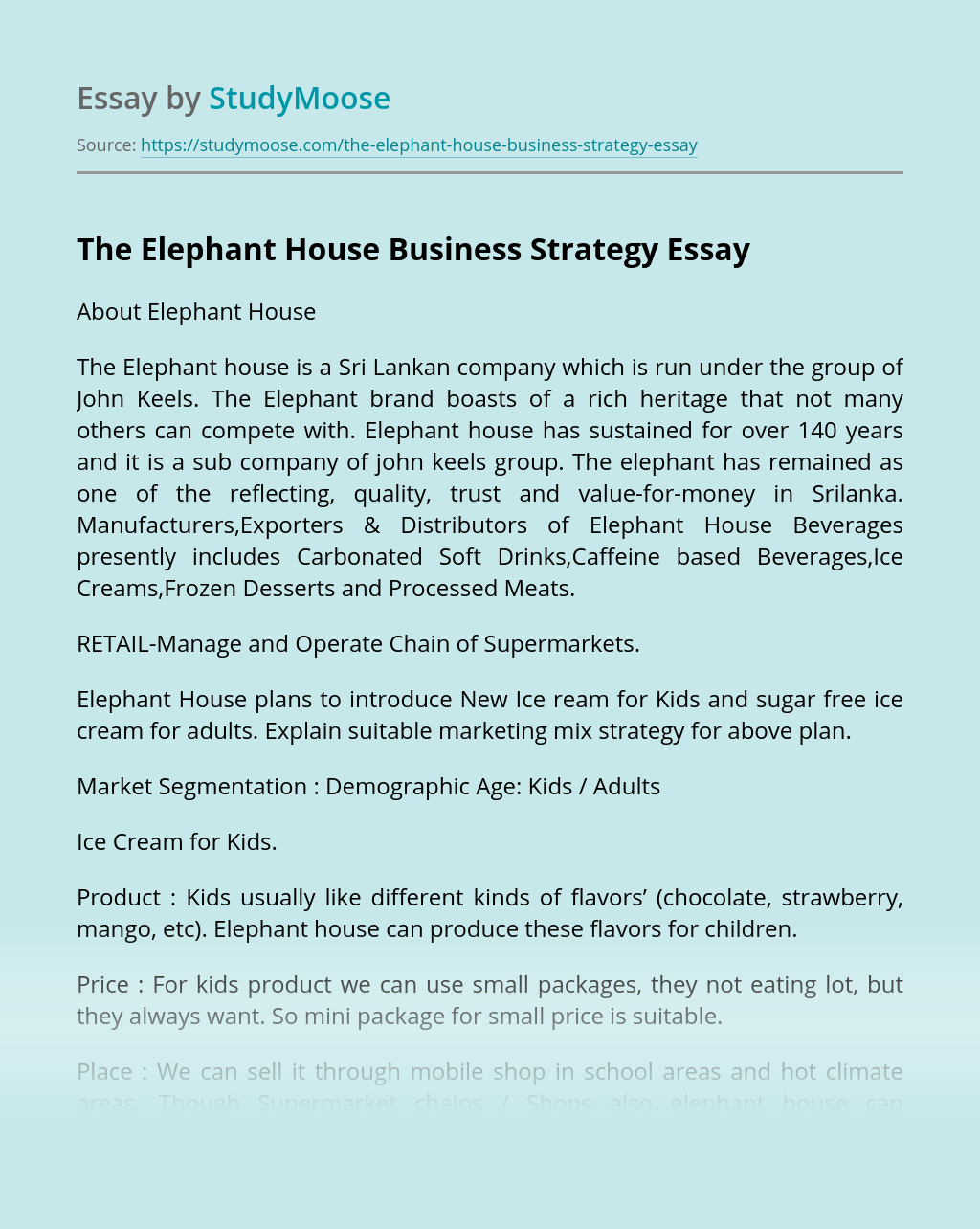 The Elephant House Business Strategy
