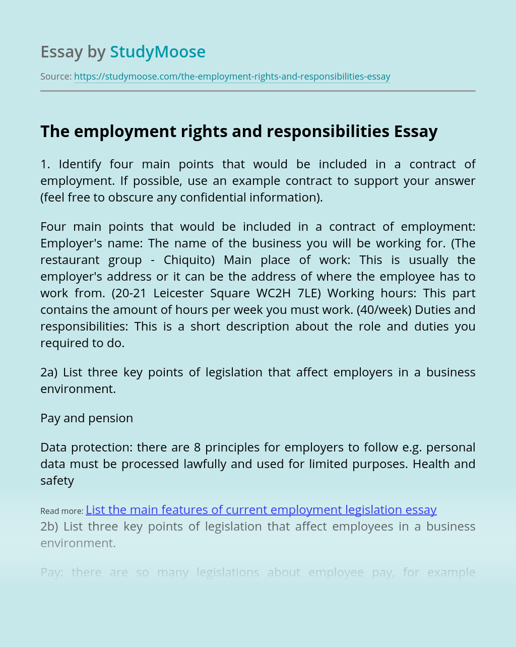 The employment rights and responsibilities
