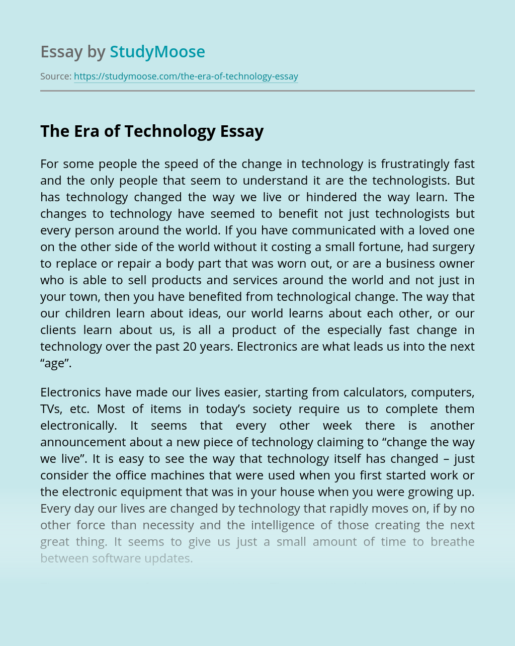The Era of Technology