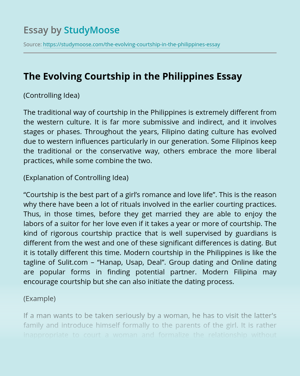 The Evolving Courtship in the Philippines