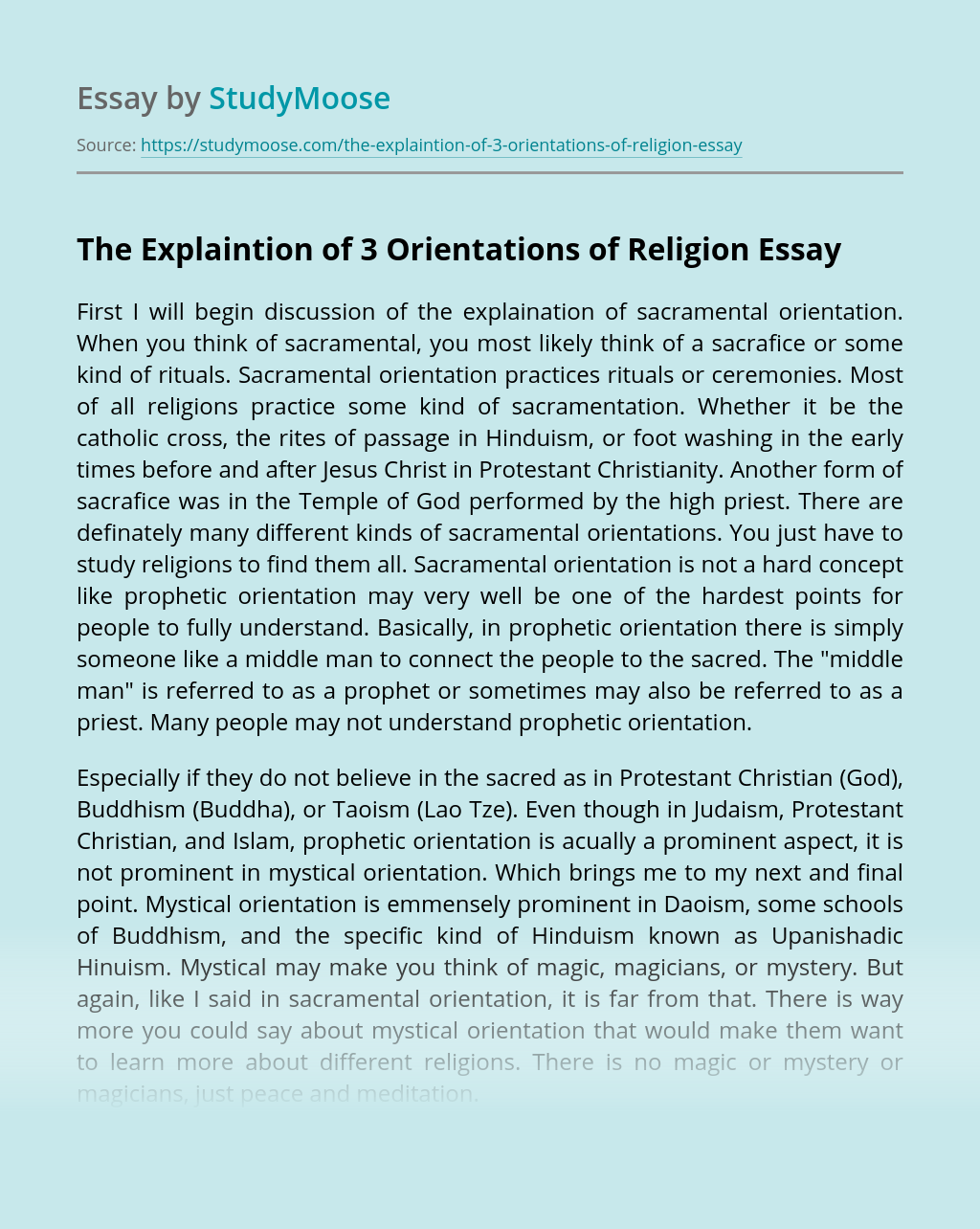 The Explaintion of 3 Orientations of Religion
