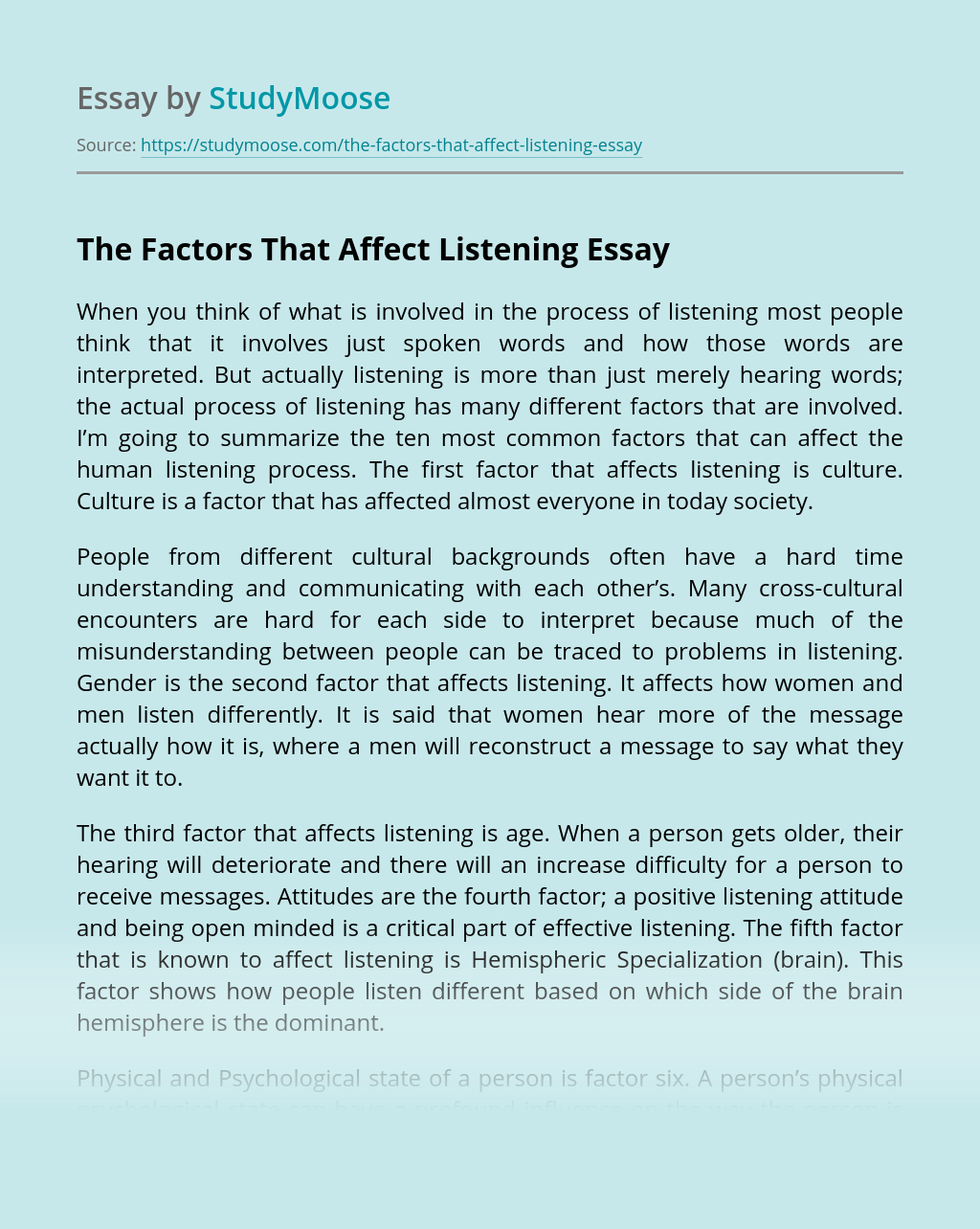 The Factors That Affect Listening
