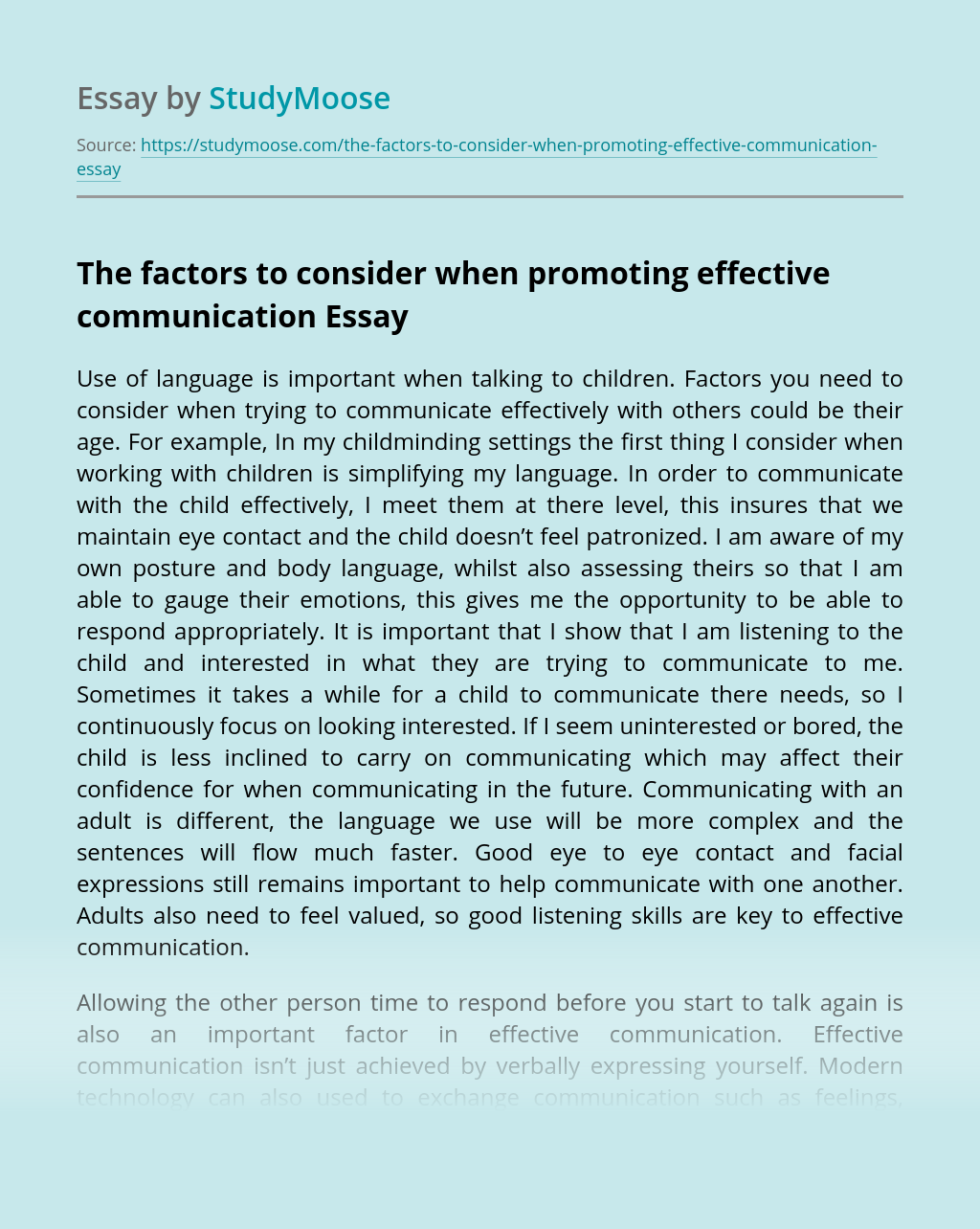 The factors to consider when promoting effective communication