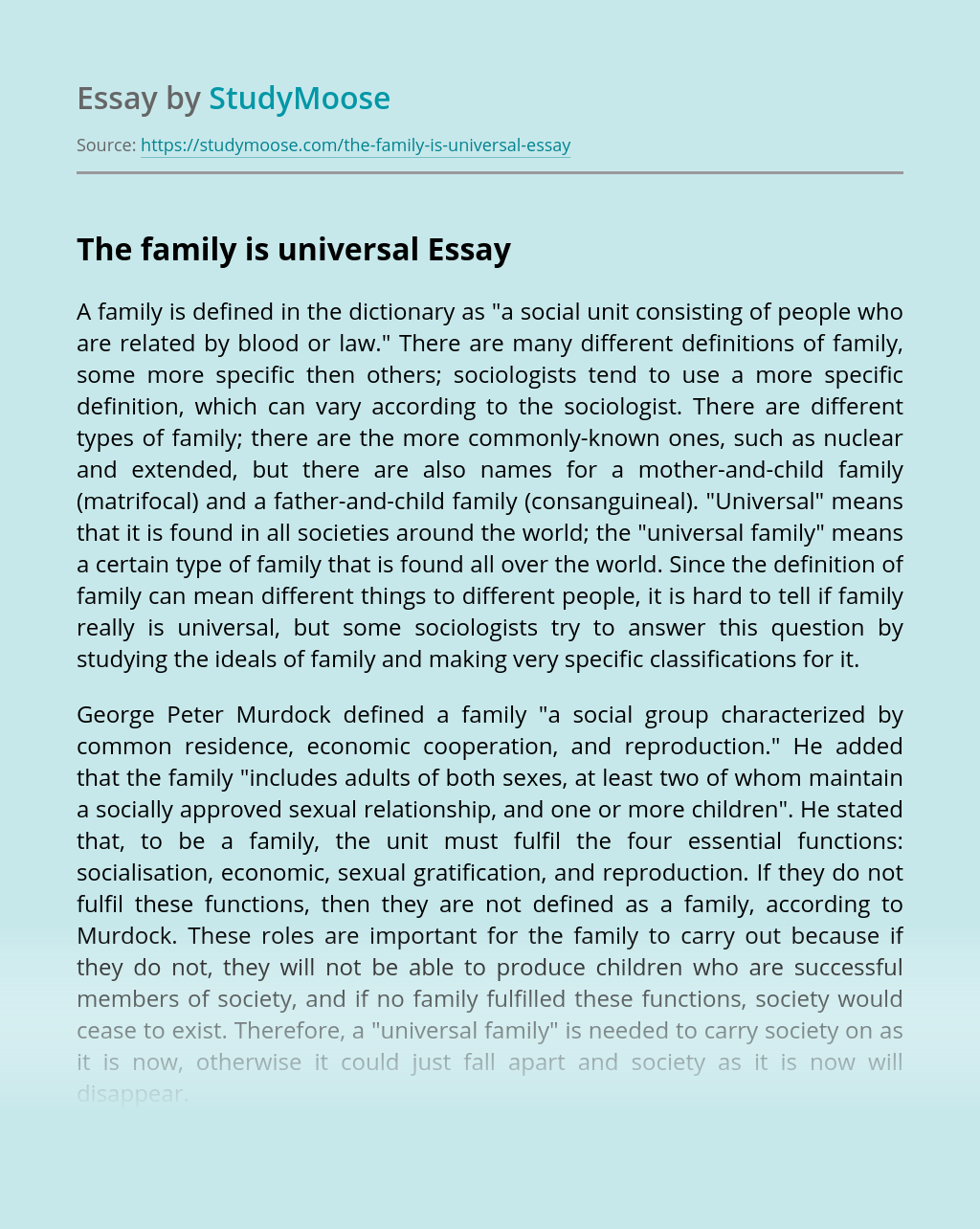 The family is universal