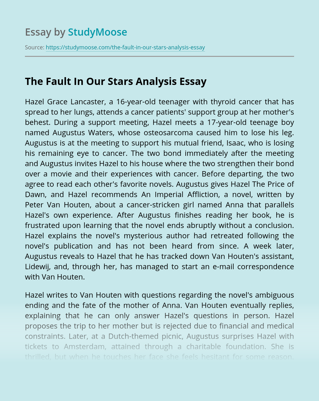 The Fault In Our Stars Analysis