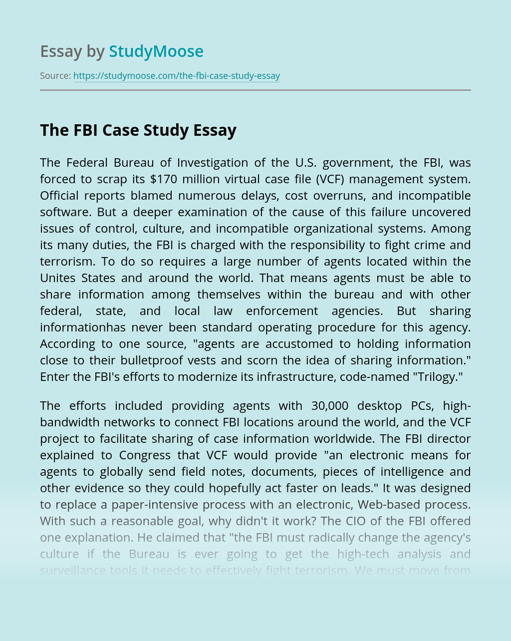 The FBI Case Study