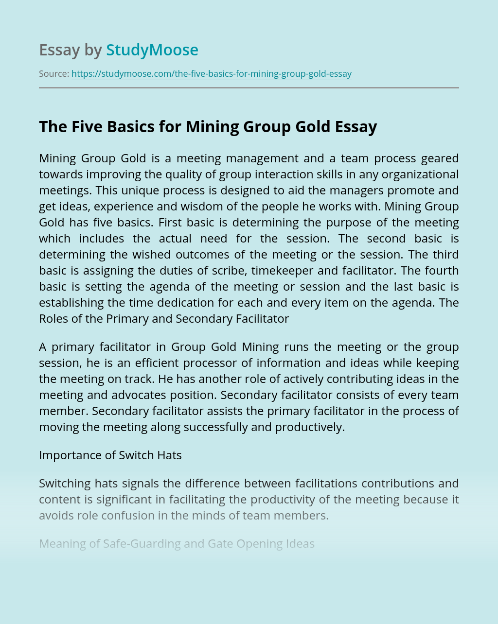 The Five Basics for Mining Group Gold