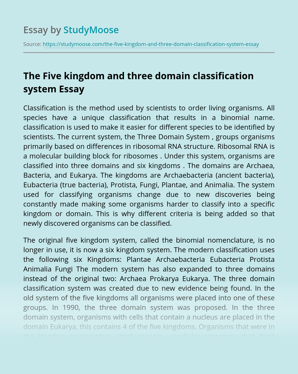 The Five Kingdom and Three Domain Classification System