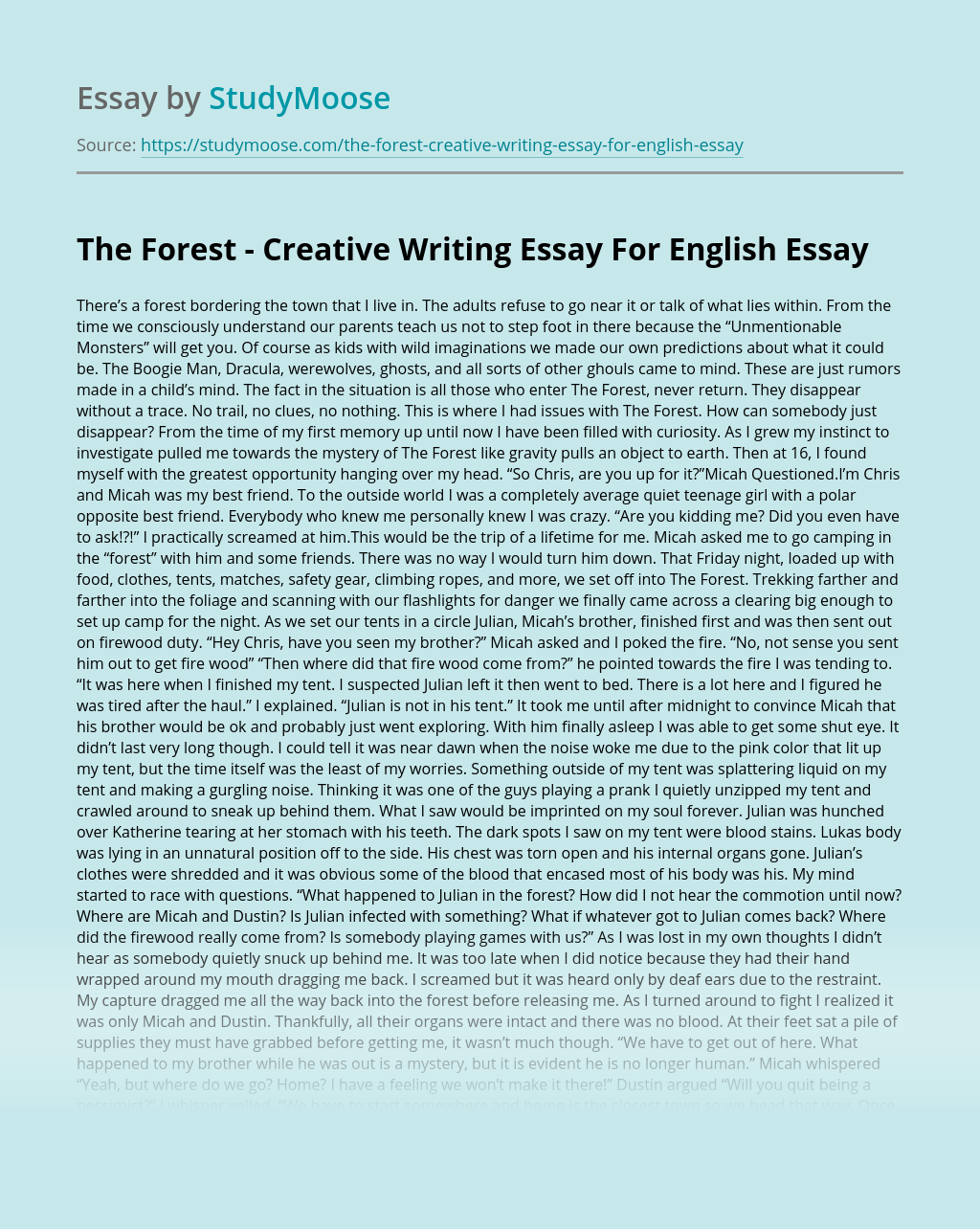 The Forest - Creative Writing Essay For English