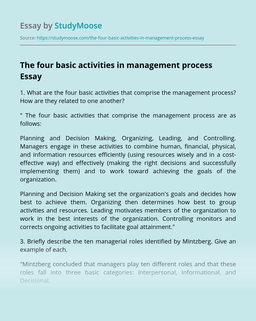 The four basic activities in management process