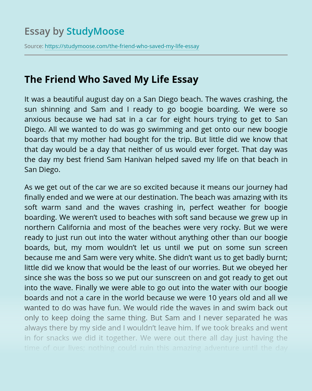 The Friend Who Saved My Life