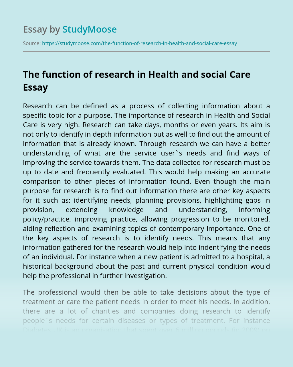 The function of research in Health and social Care