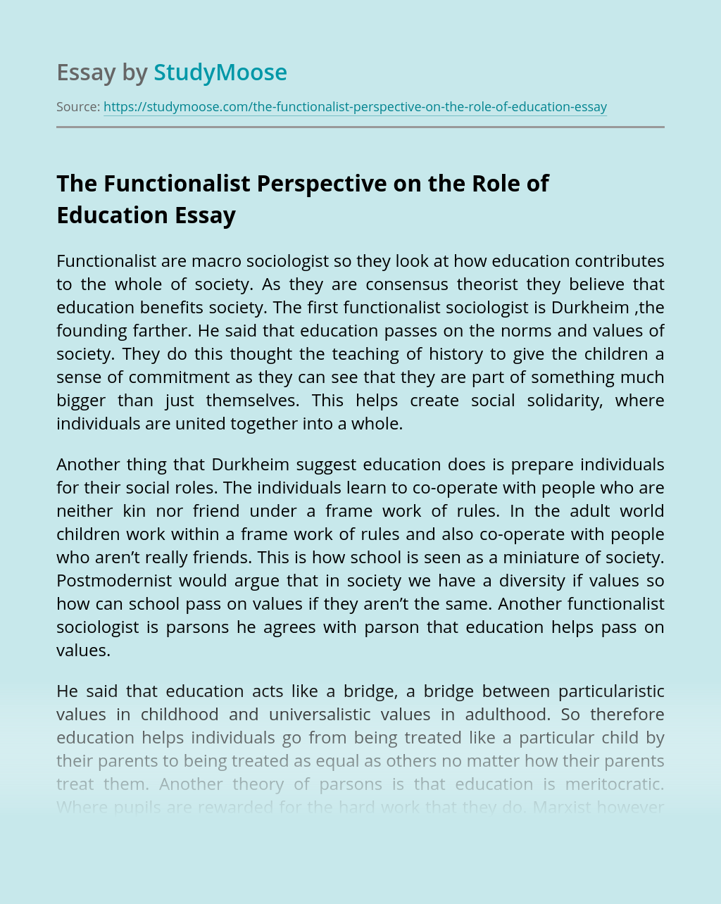 The Functionalist Perspective on the Role of Education