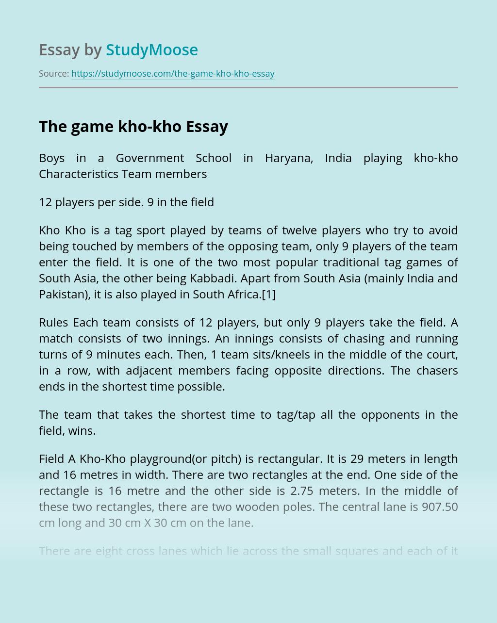 The game kho-kho