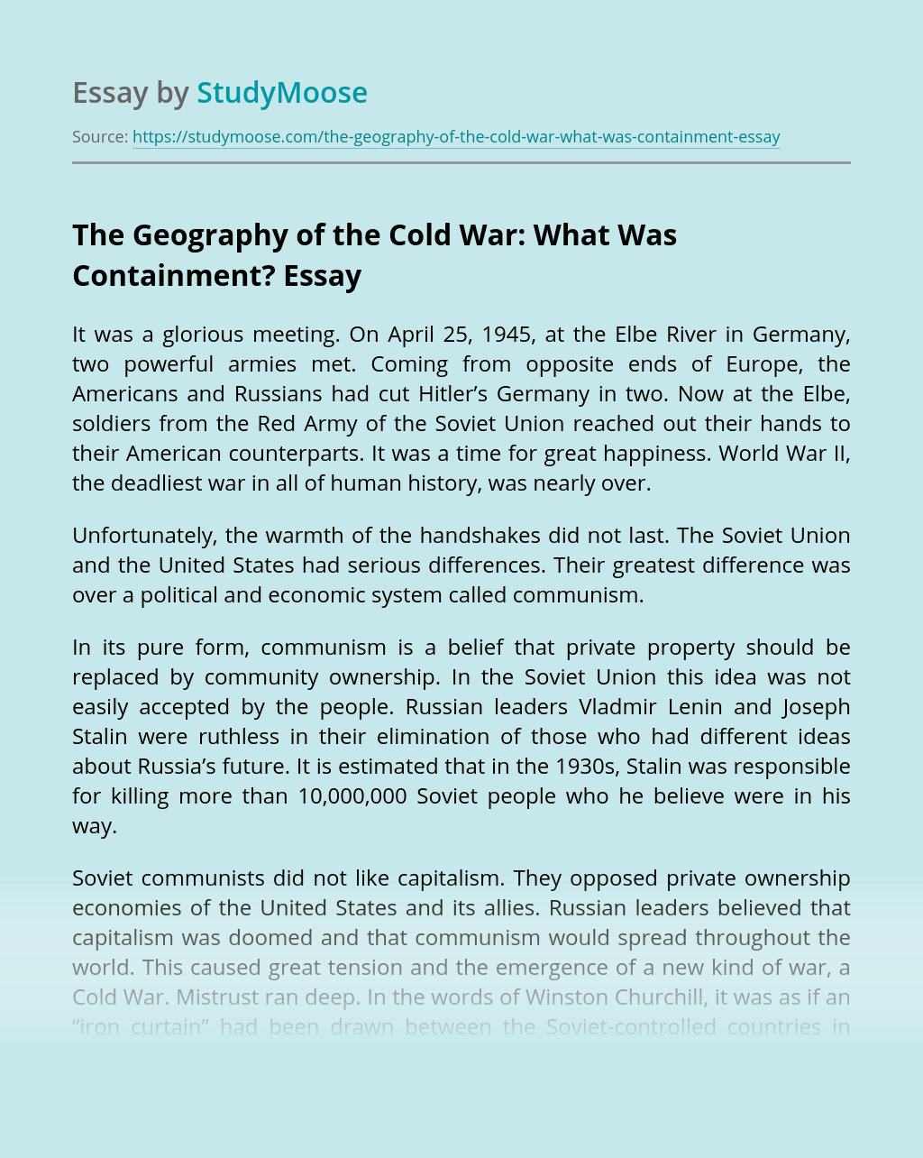 The Geography of the Cold War: What Was Containment?