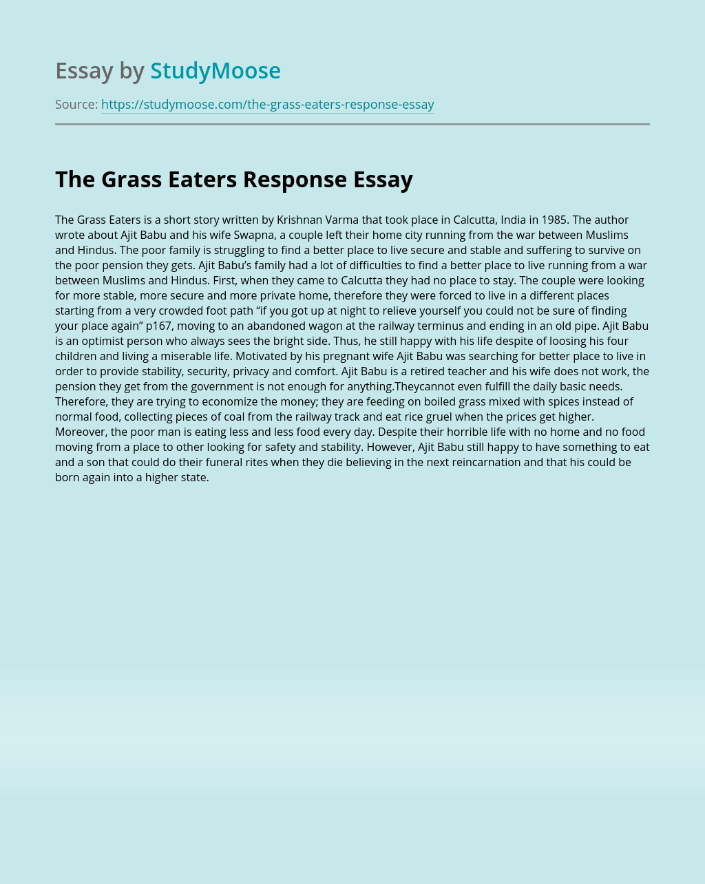 The Grass Eaters Response