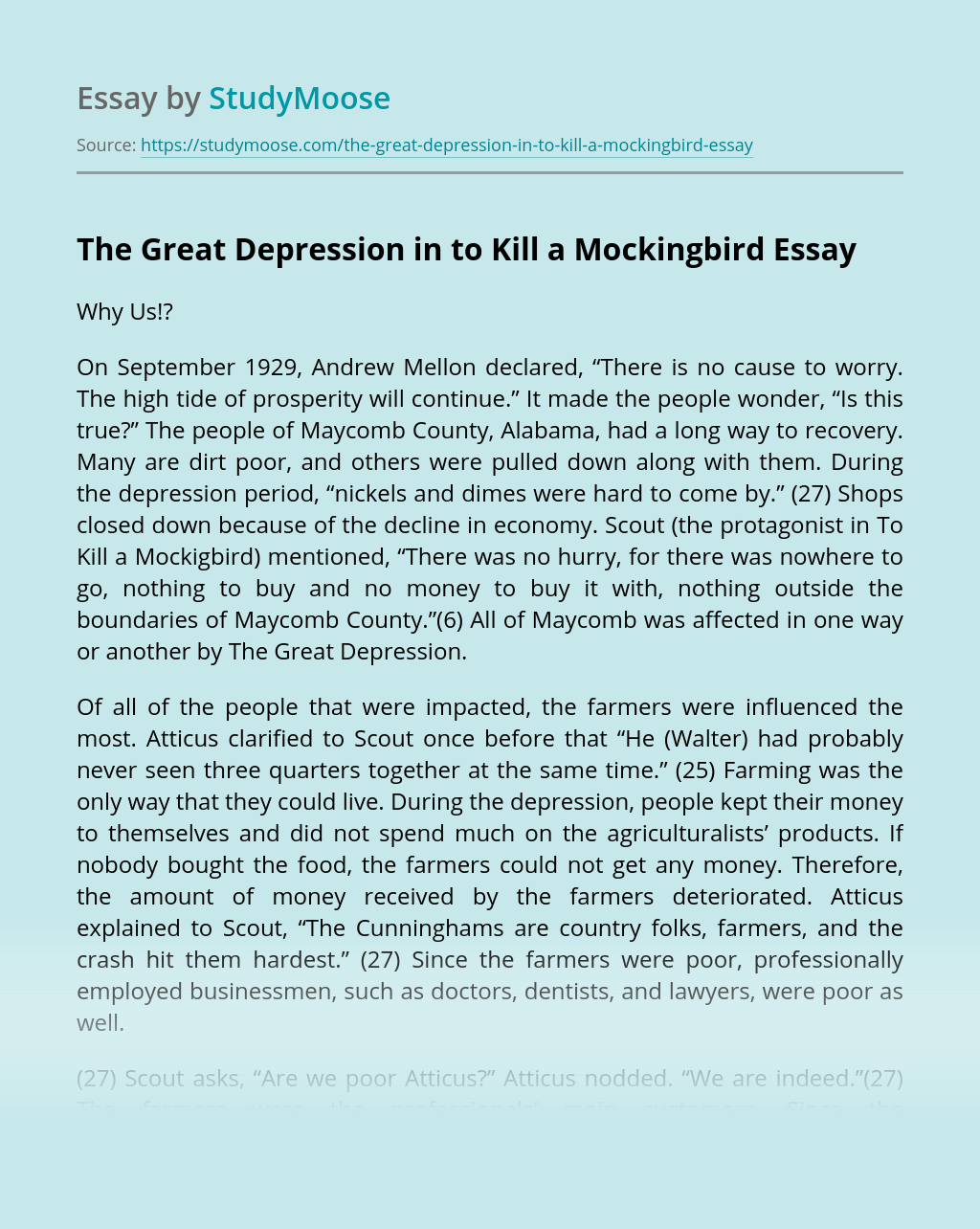The Great Depression in to Kill a Mockingbird