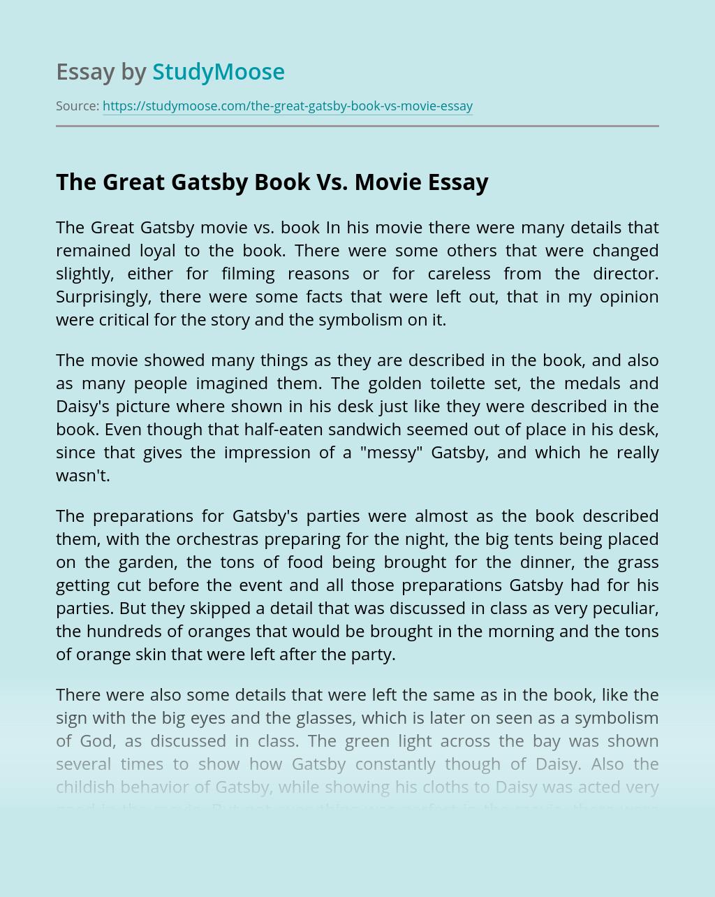 The Great Gatsby Book Vs. Movie