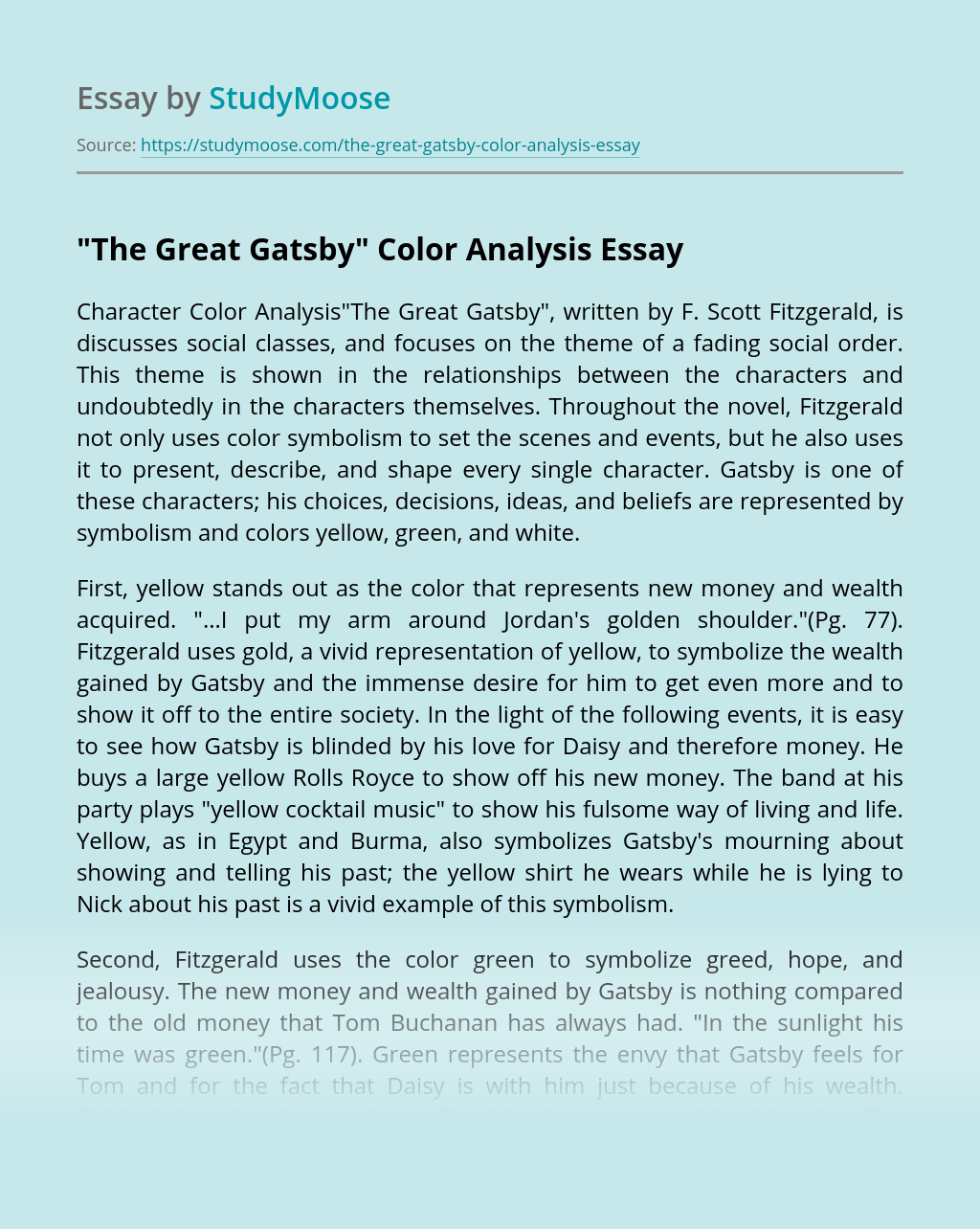"""The Great Gatsby"" Color Analysis"