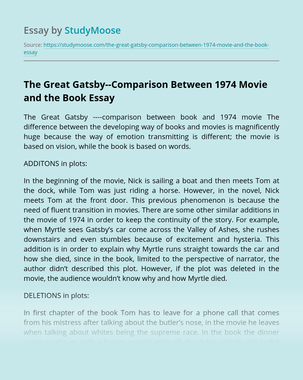 The Great Gatsby--Comparison Between 1974 Movie and the Book