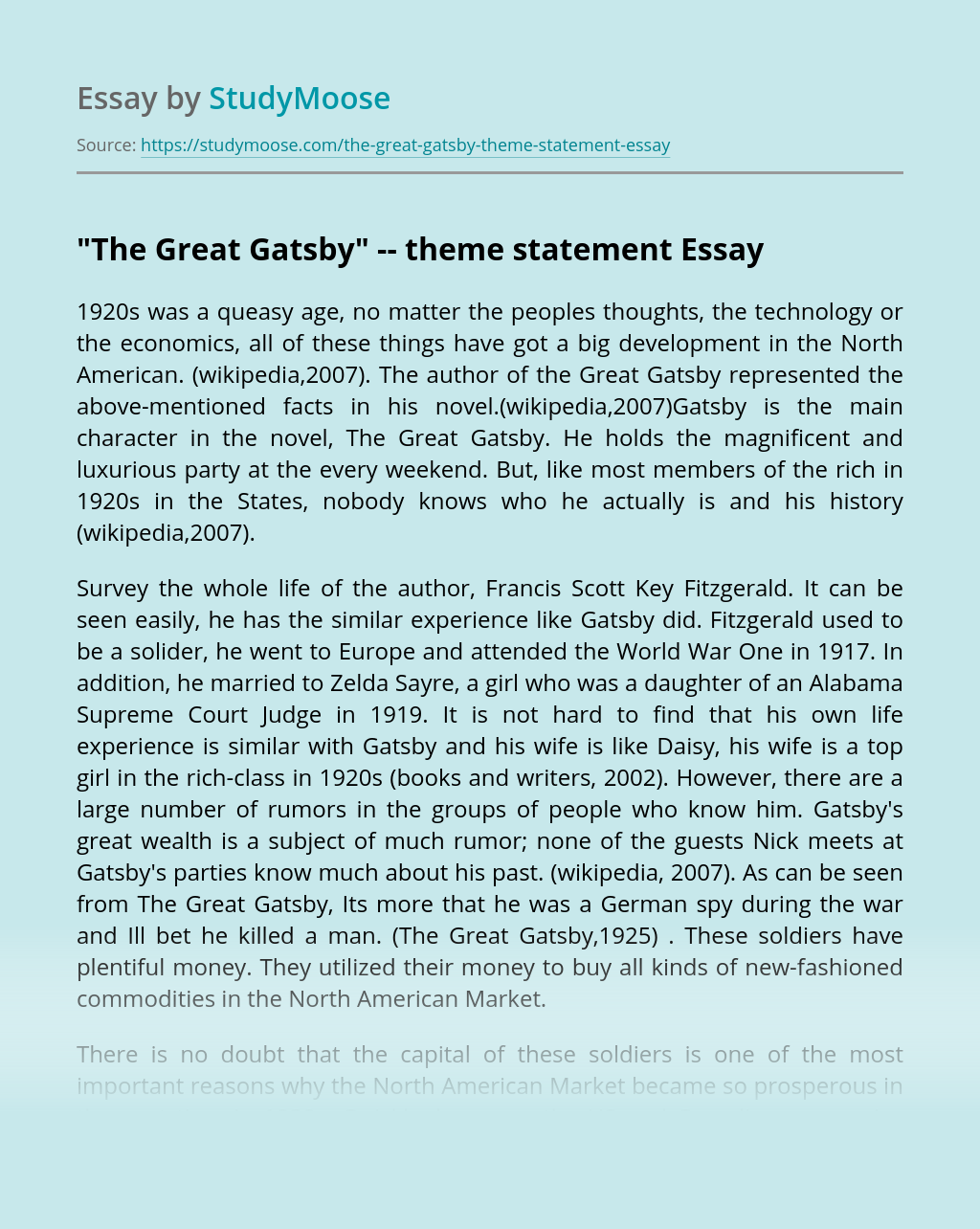 """The Great Gatsby"" — theme statement"