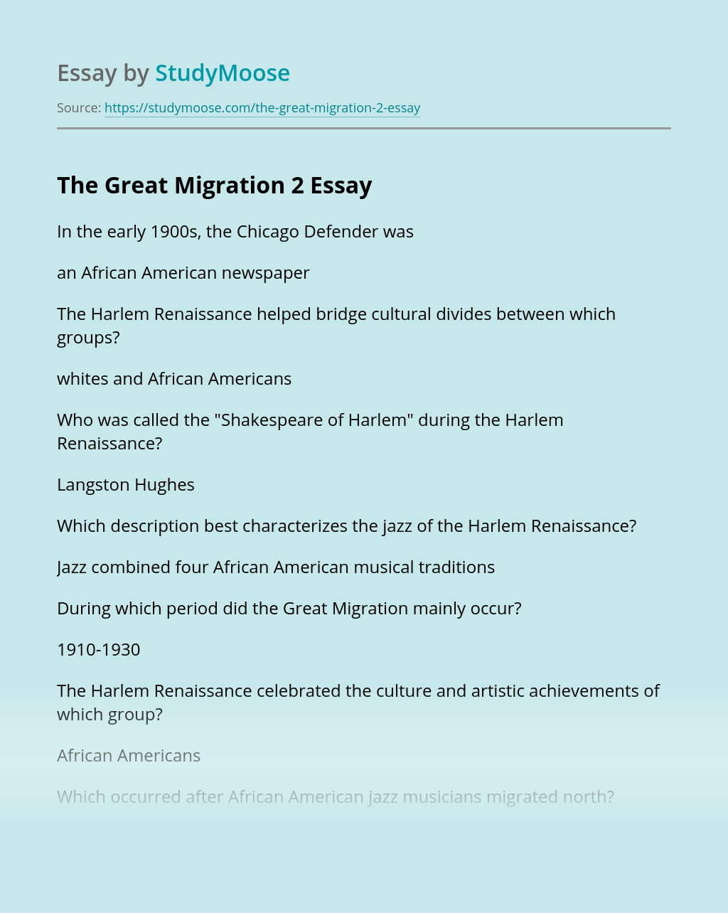 The Great Migration 2