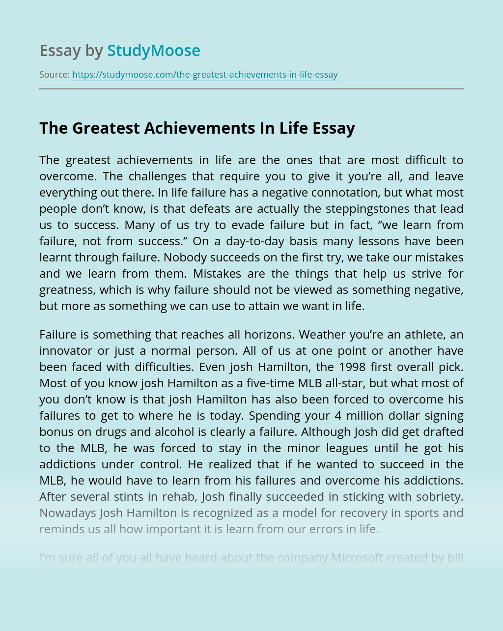 The Greatest Achievements In Life