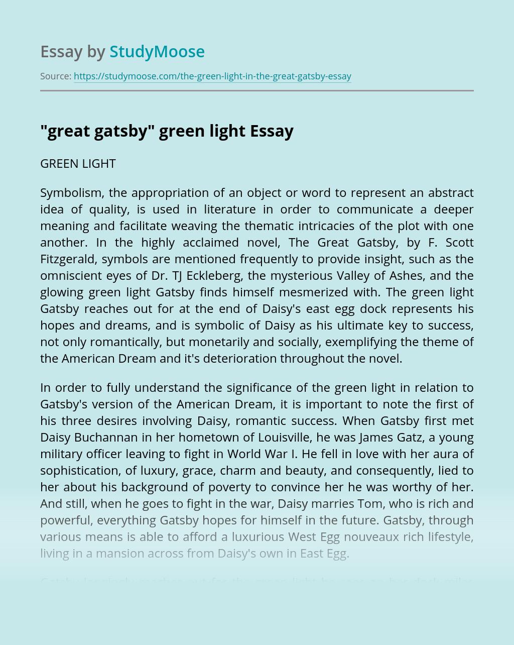 """great gatsby"" green light"