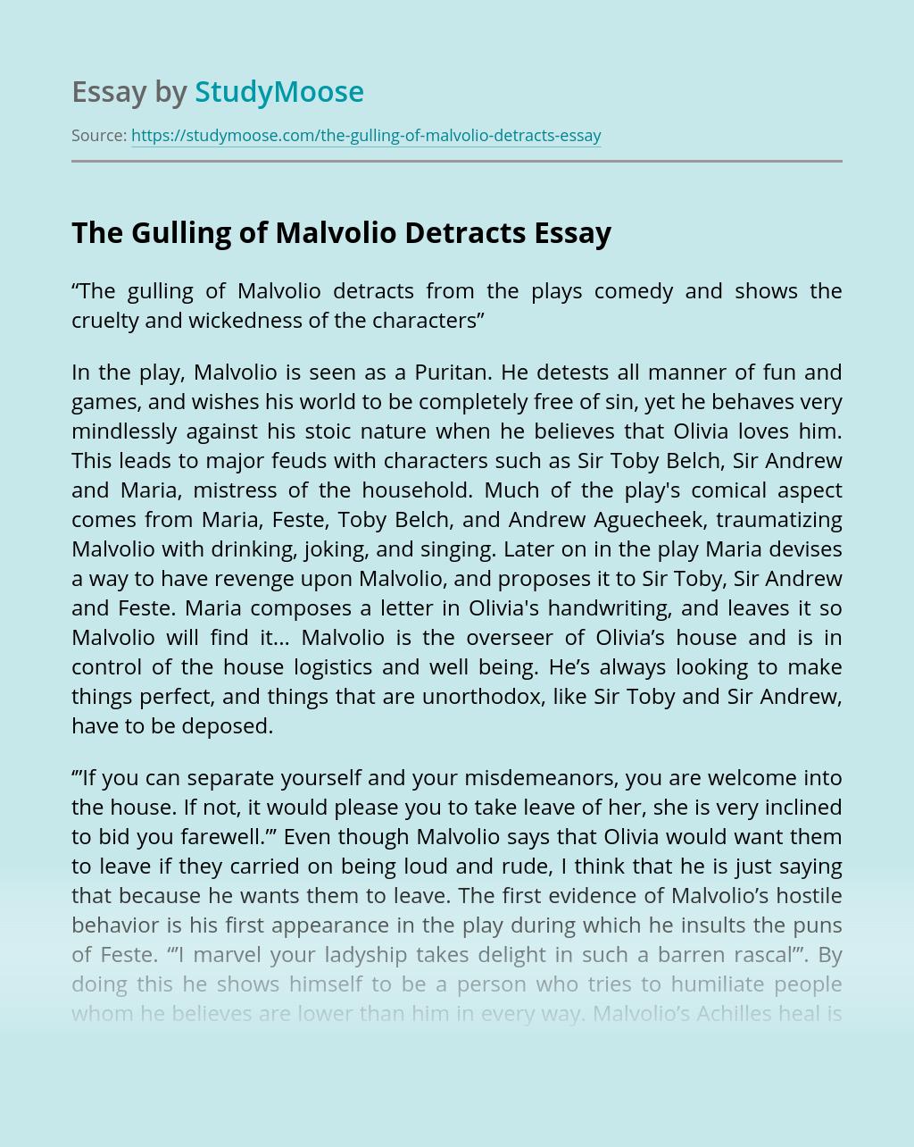 The Gulling of Malvolio Detracts