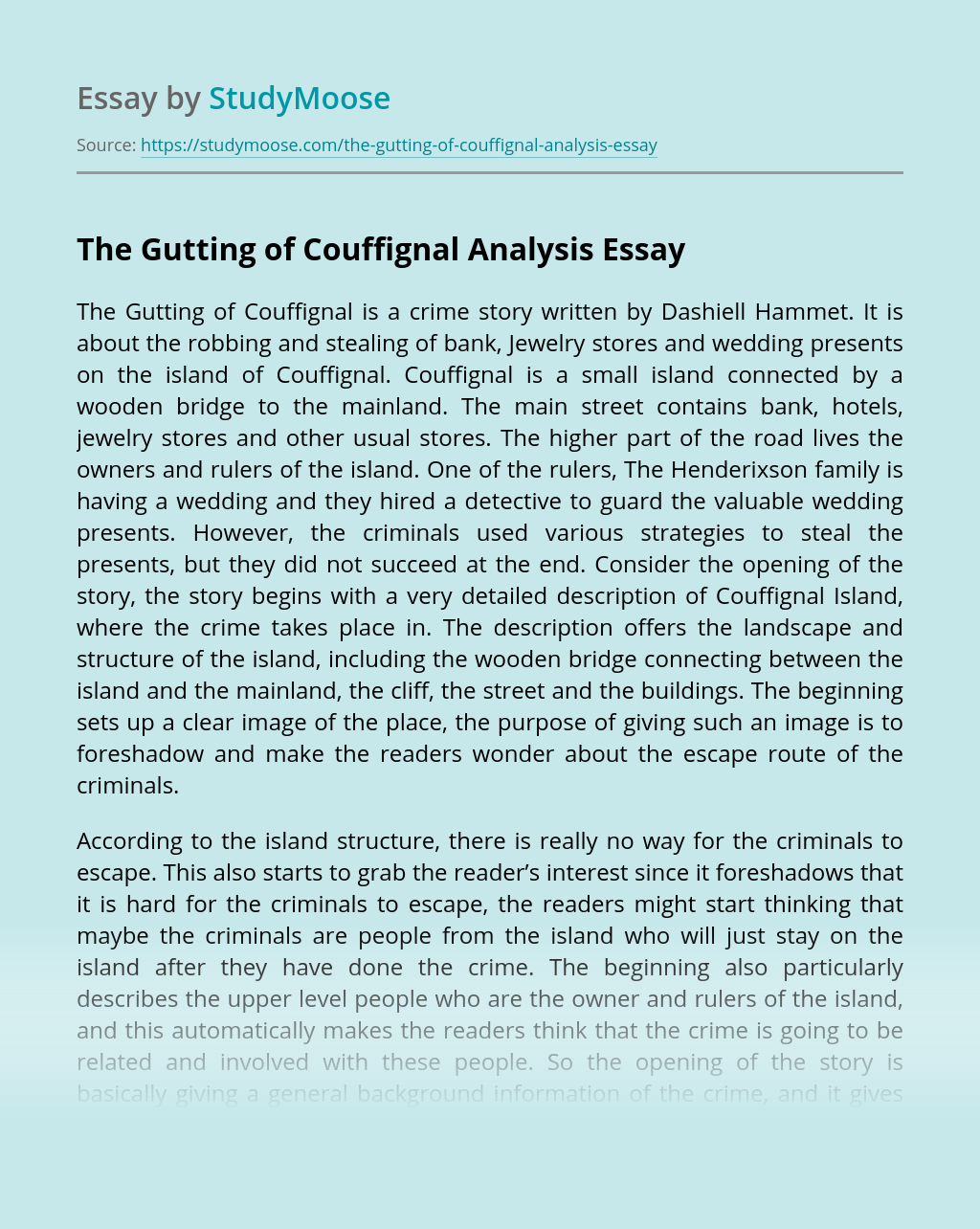 The Gutting of Couffignal Analysis